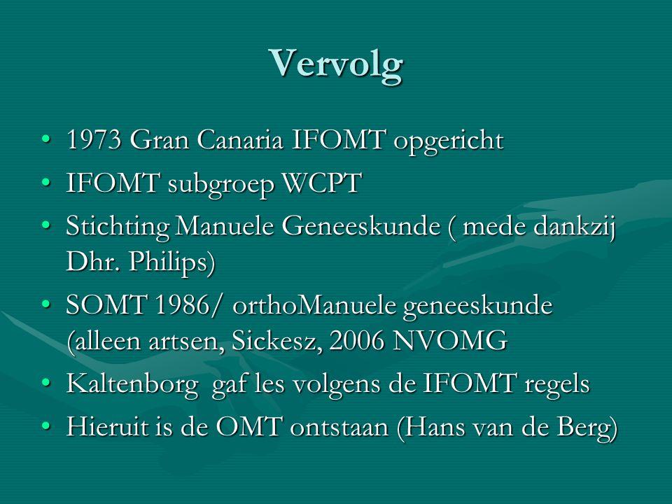 Vervolg 1973 Gran Canaria IFOMT opgericht IFOMT subgroep WCPT