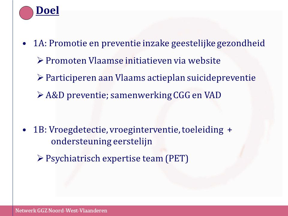 Doel 1A: Promotie en preventie inzake geestelijke gezondheid