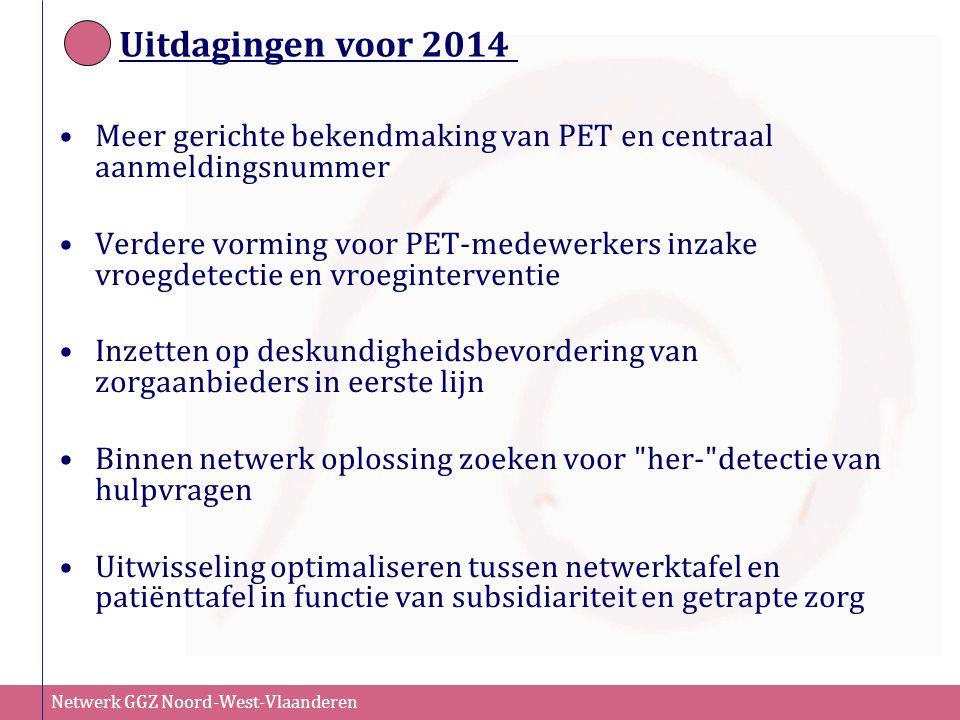 Uitdagingen voor 2014 Meer gerichte bekendmaking van PET en centraal aanmeldingsnummer.