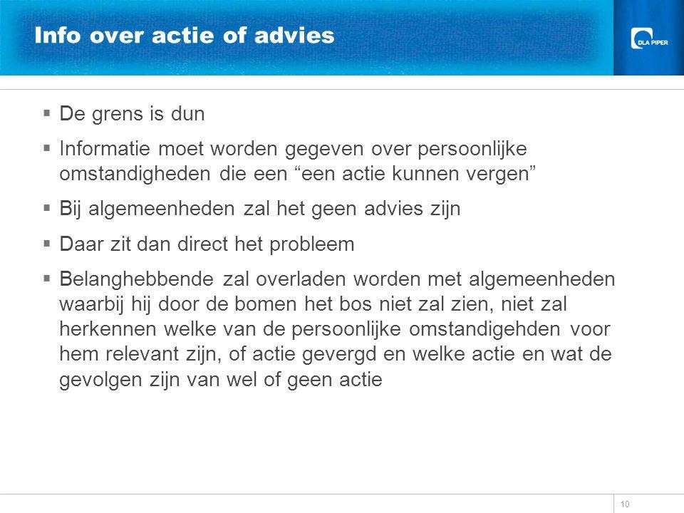 Info over actie of advies