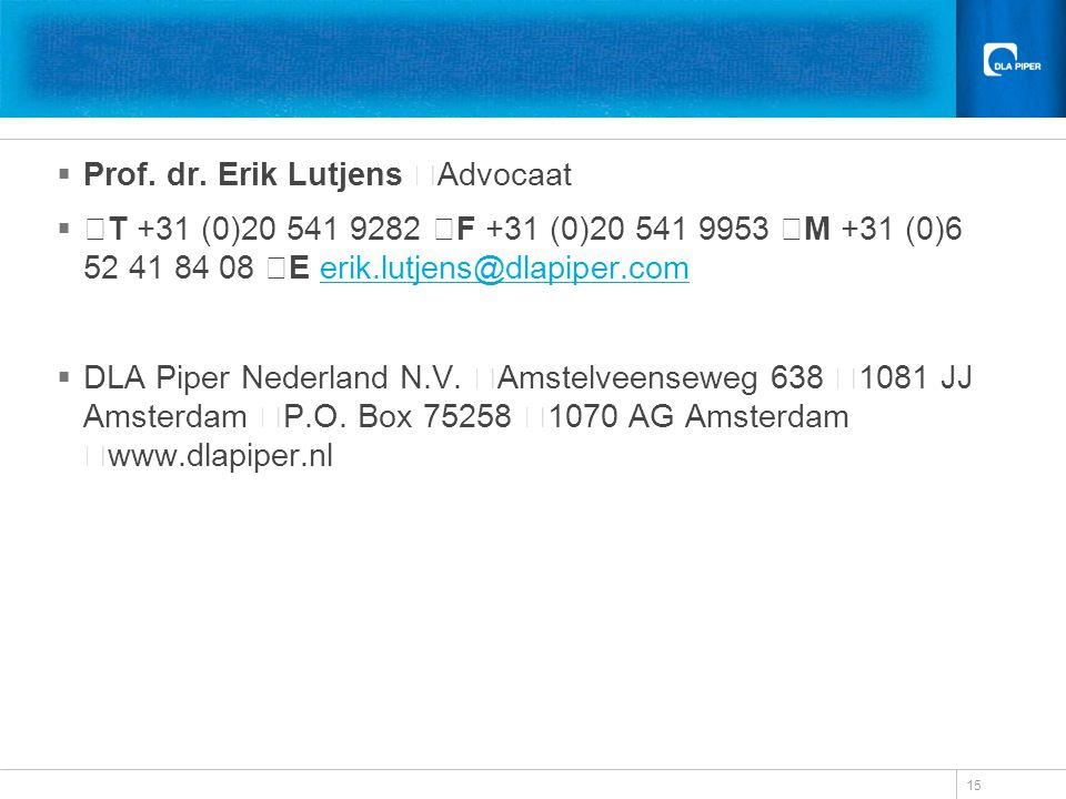 Prof. dr. Erik Lutjens Advocaat