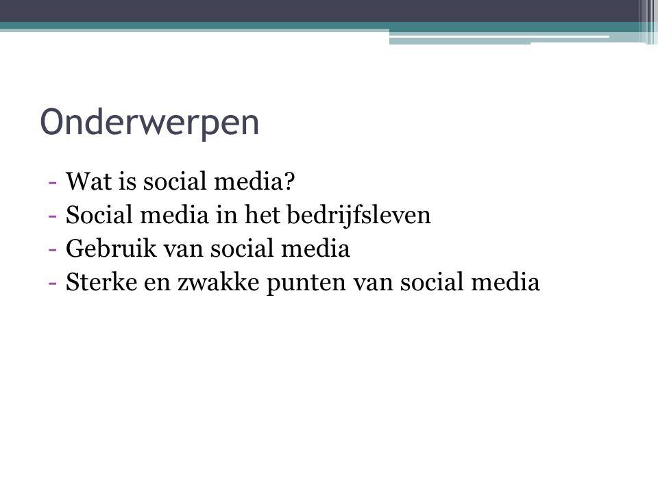Onderwerpen Wat is social media Social media in het bedrijfsleven