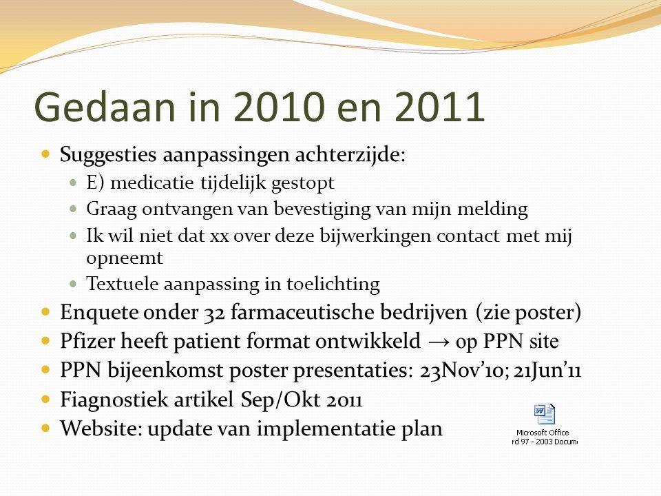 Gedaan in 2010 en 2011 Suggesties aanpassingen achterzijde: