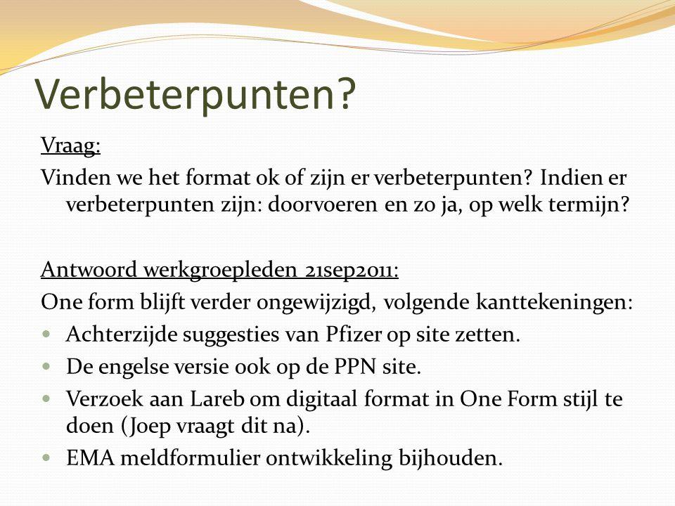 Verbeterpunten Vraag: