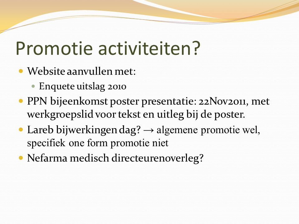 Promotie activiteiten