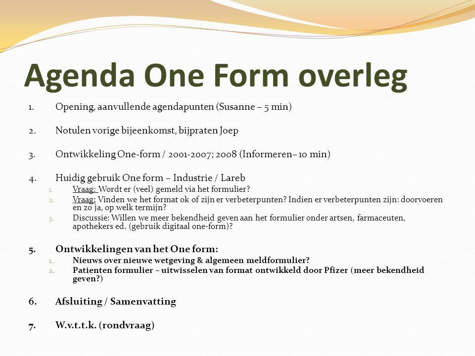 Agenda One Form overleg