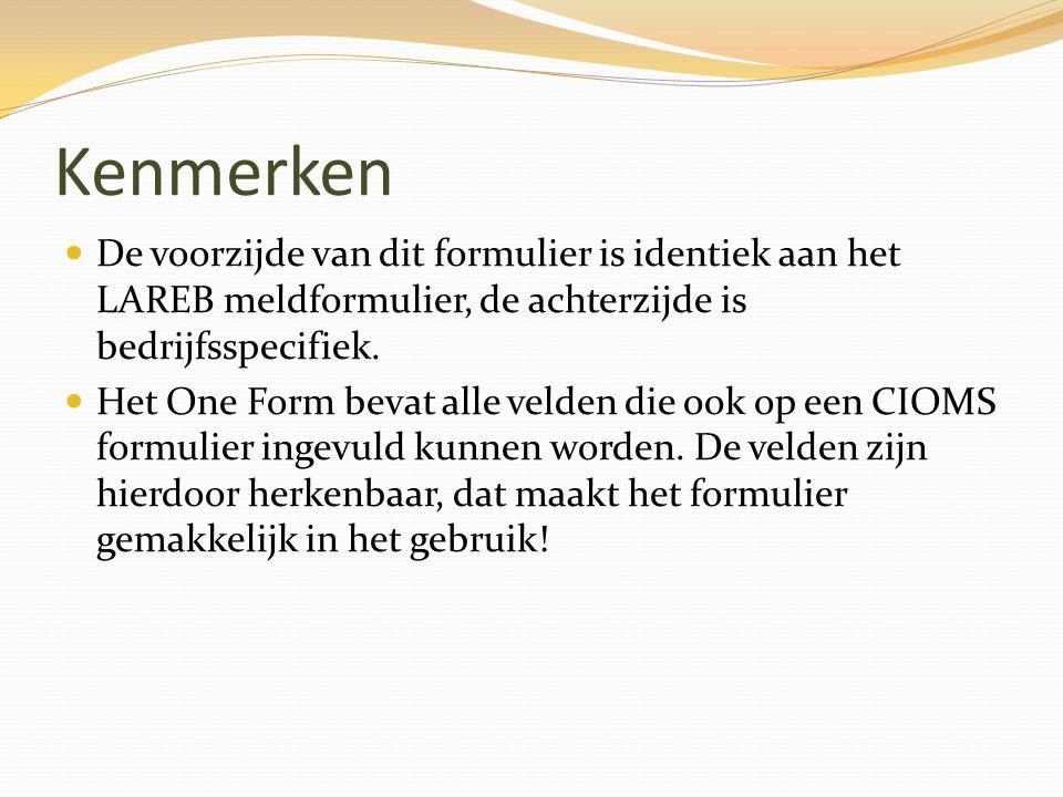 Kenmerken De voorzijde van dit formulier is identiek aan het LAREB meldformulier, de achterzijde is bedrijfsspecifiek.