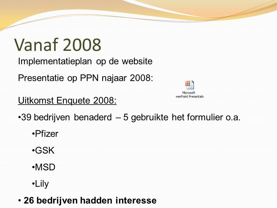 Vanaf 2008 Implementatieplan op de website