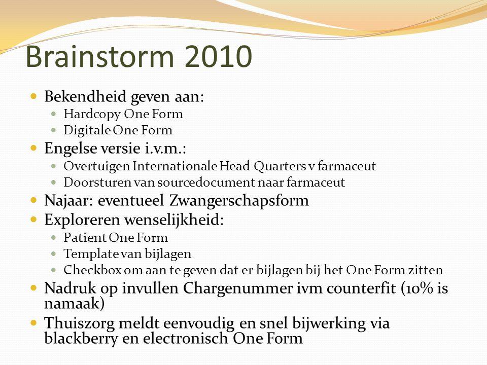 Brainstorm 2010 Bekendheid geven aan: Engelse versie i.v.m.: