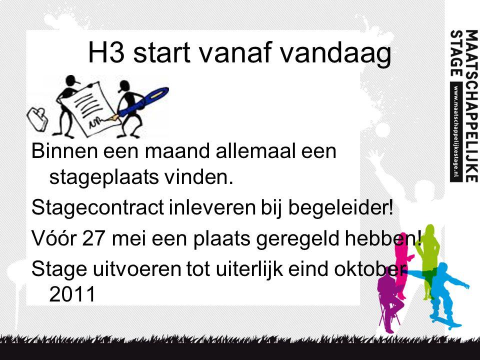 H3 start vanaf vandaag