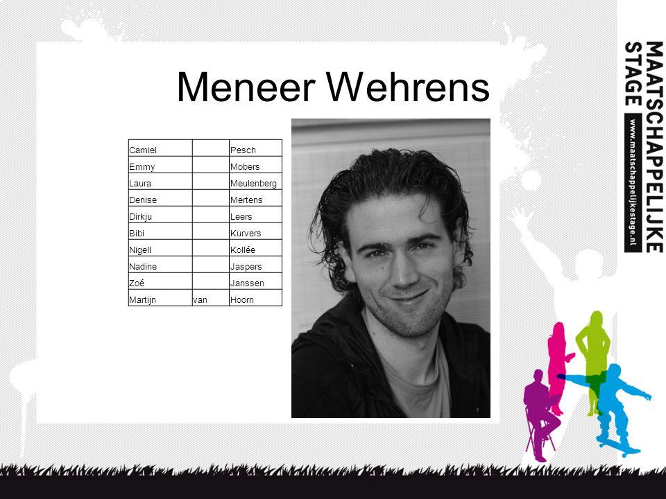 Meneer Wehrens Camiel Pesch Emmy Mobers Laura Meulenberg Denise
