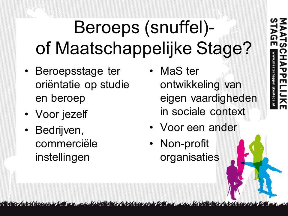 Beroeps (snuffel)- of Maatschappelijke Stage