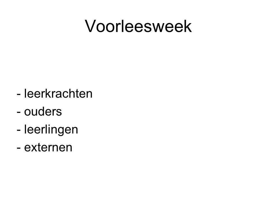 Voorleesweek - leerkrachten - ouders - leerlingen - externen