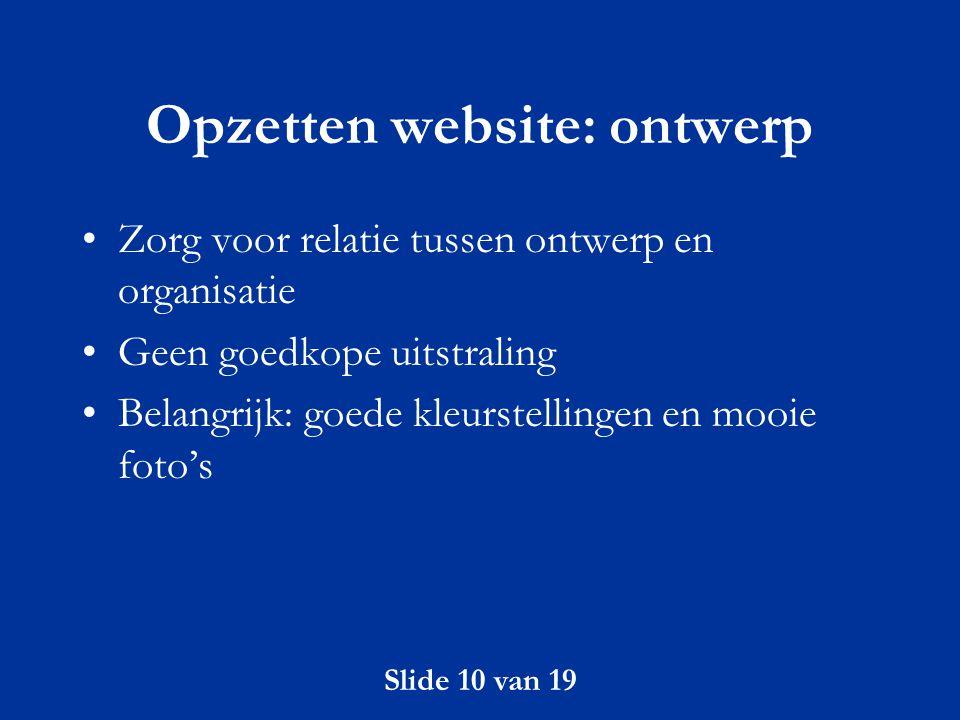 Opzetten website: ontwerp