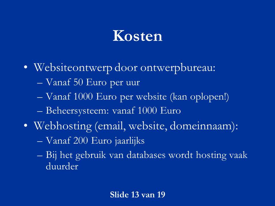 Kosten Websiteontwerp door ontwerpbureau: