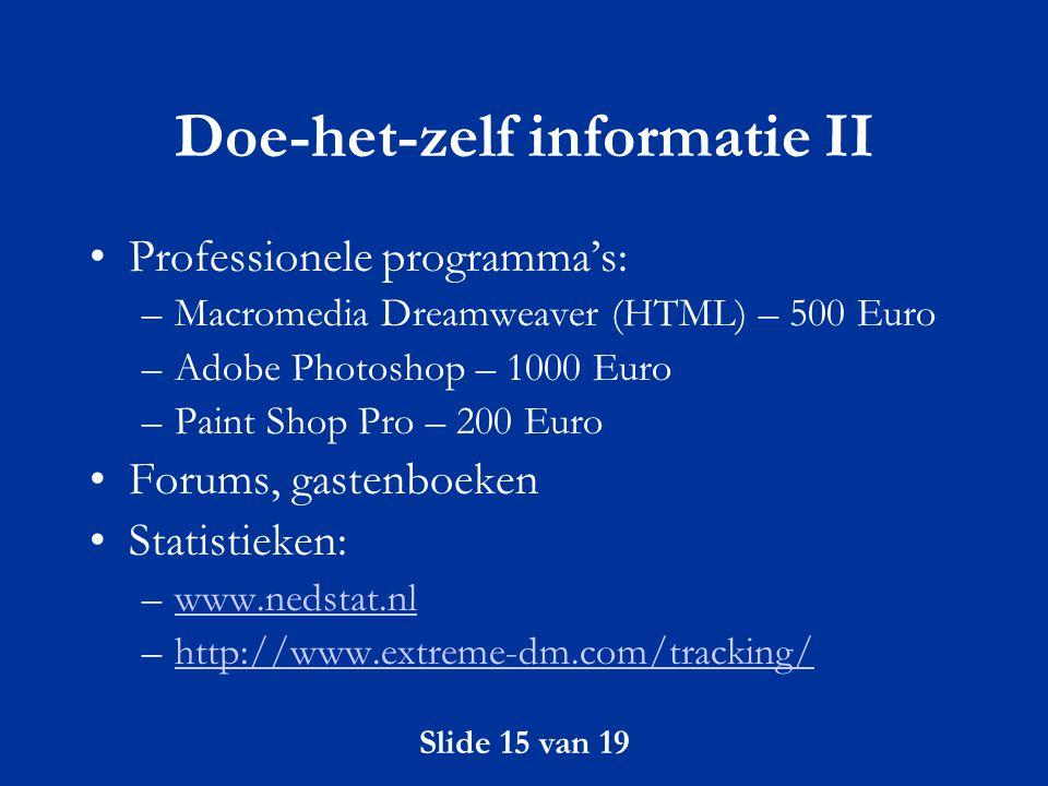 Doe-het-zelf informatie II