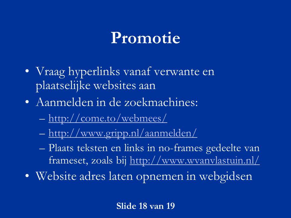 Promotie Vraag hyperlinks vanaf verwante en plaatselijke websites aan