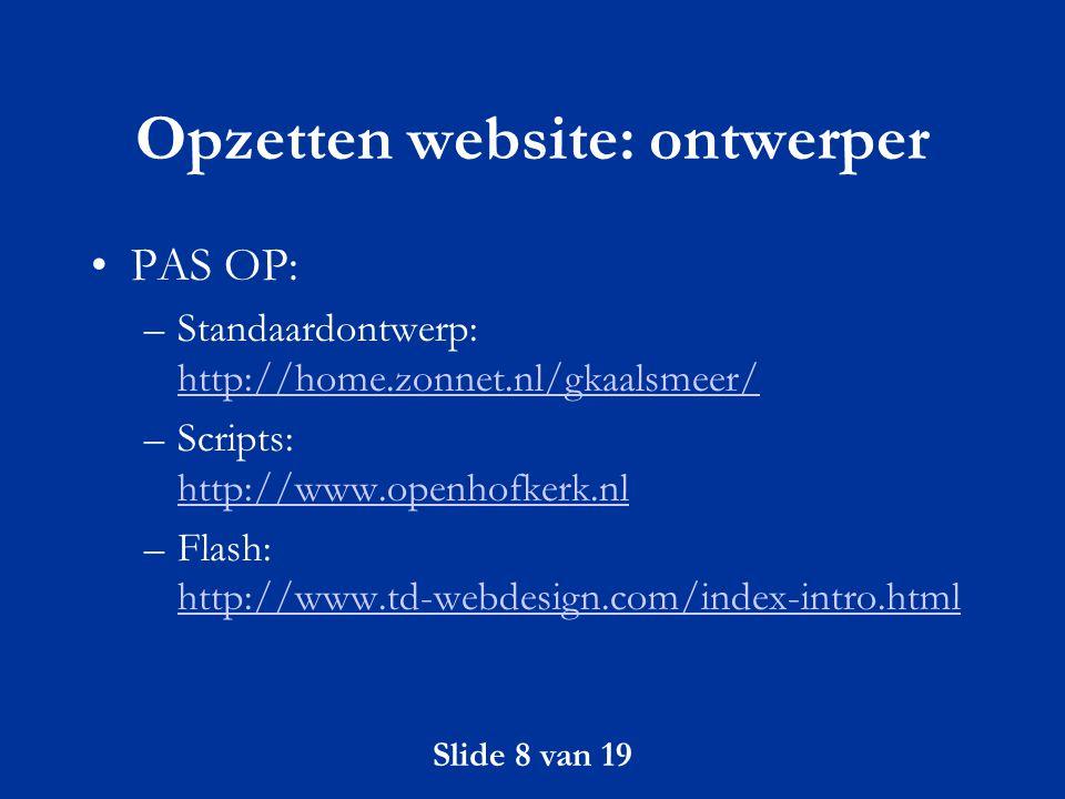 Opzetten website: ontwerper