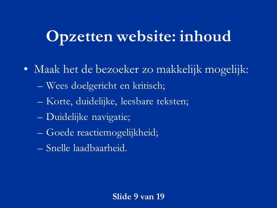 Opzetten website: inhoud