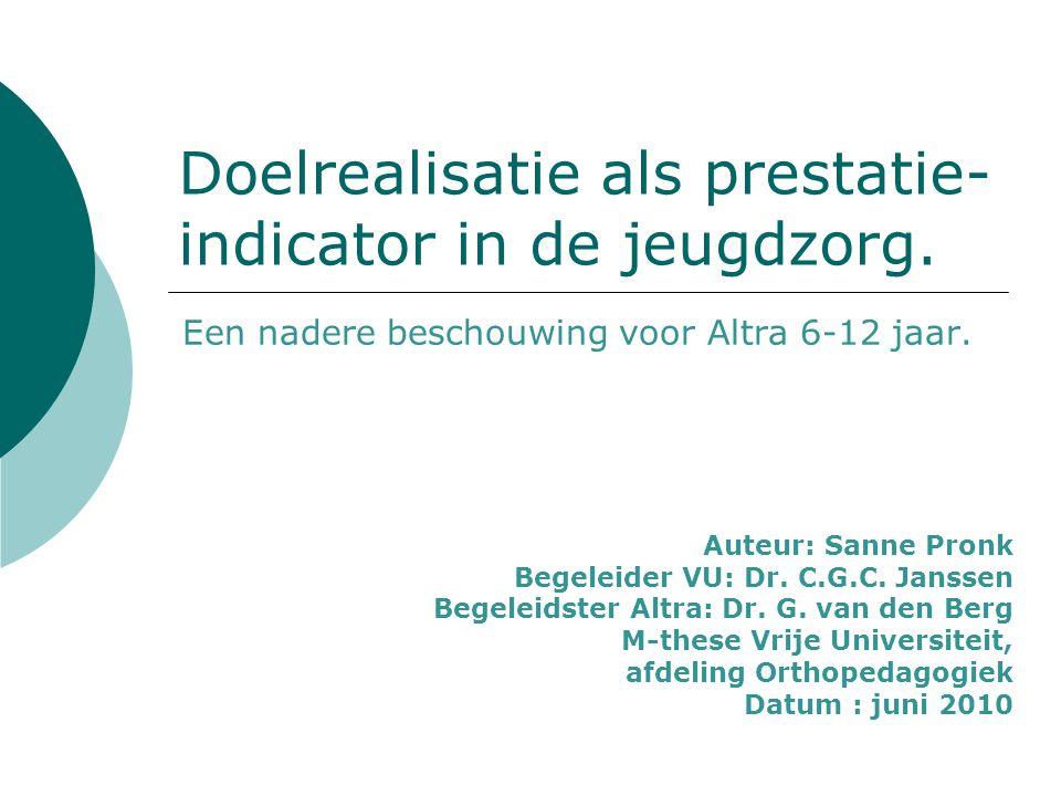 Doelrealisatie als prestatie-indicator in de jeugdzorg.