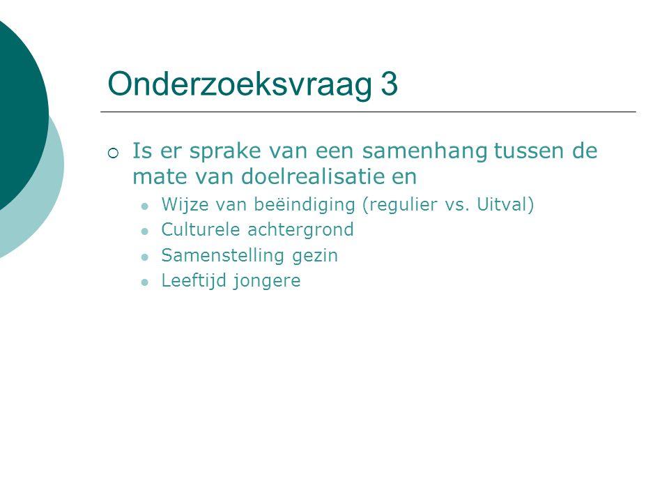 Onderzoeksvraag 3 Is er sprake van een samenhang tussen de mate van doelrealisatie en. Wijze van beëindiging (regulier vs. Uitval)