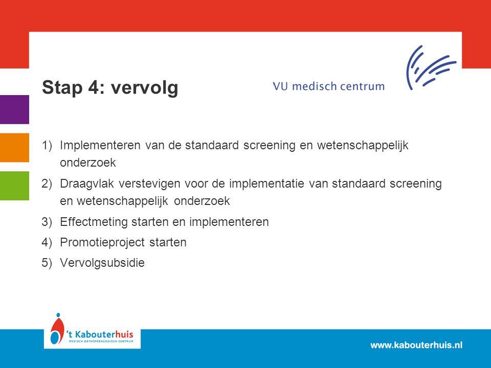 Stap 4: vervolg Implementeren van de standaard screening en wetenschappelijk onderzoek.