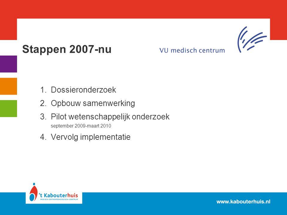 Stappen 2007-nu Dossieronderzoek Opbouw samenwerking