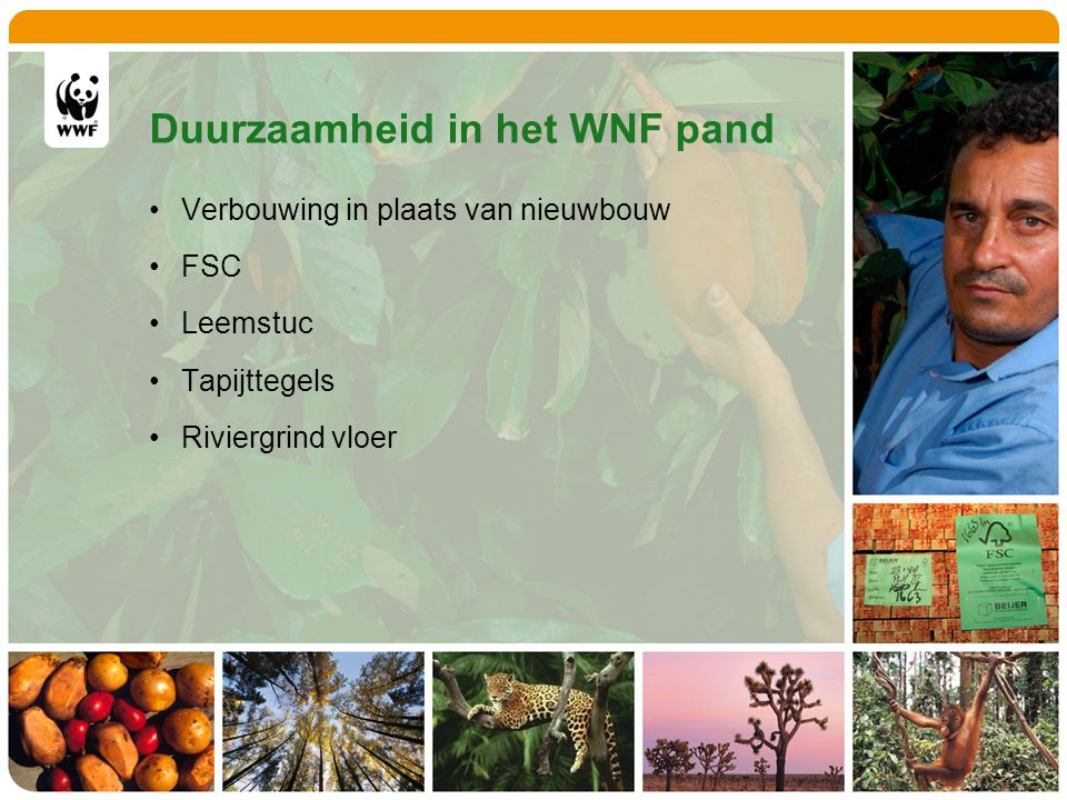 Duurzaamheid in het WNF pand