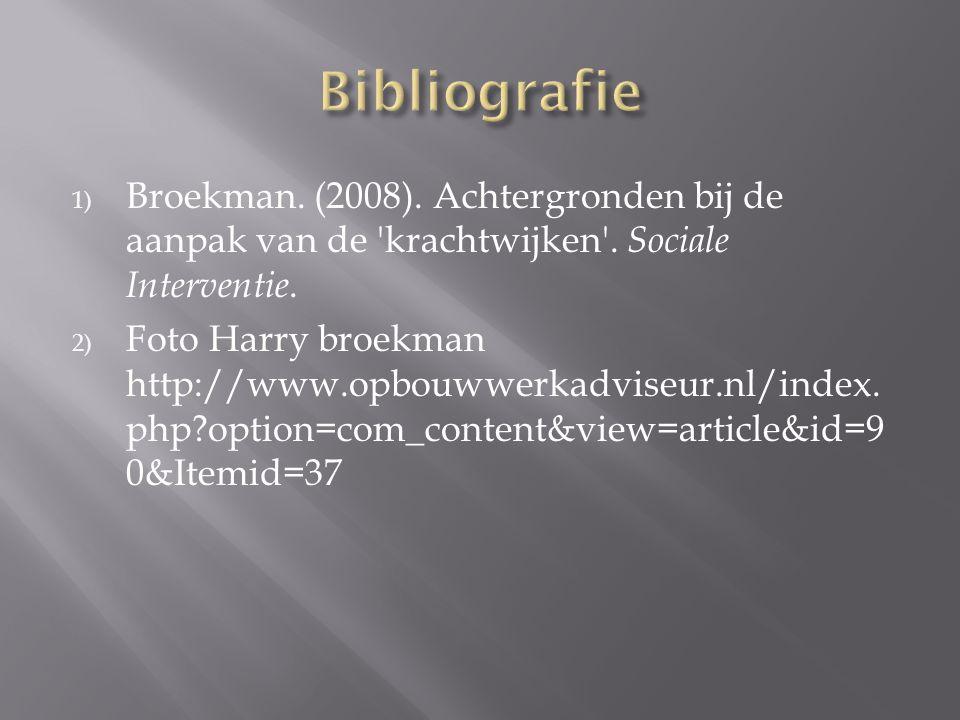 Bibliografie Broekman. (2008). Achtergronden bij de aanpak van de krachtwijken . Sociale Interventie.