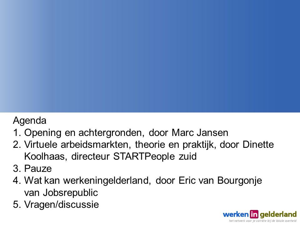Agenda Opening en achtergronden, door Marc Jansen. Virtuele arbeidsmarkten, theorie en praktijk, door Dinette Koolhaas, directeur STARTPeople zuid.