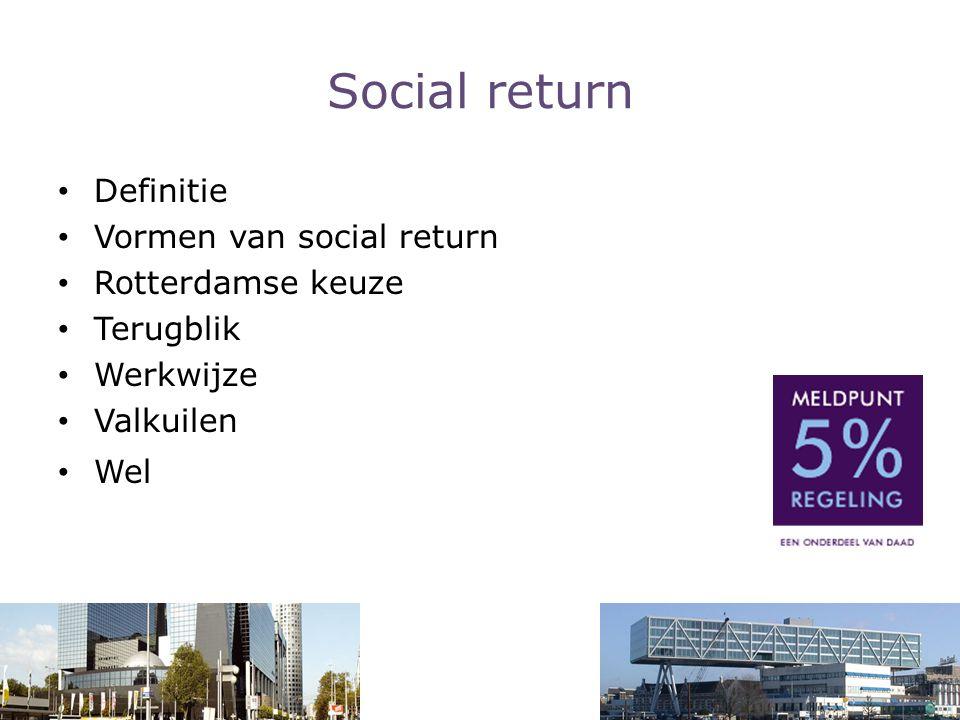 Social return Definitie Vormen van social return Rotterdamse keuze