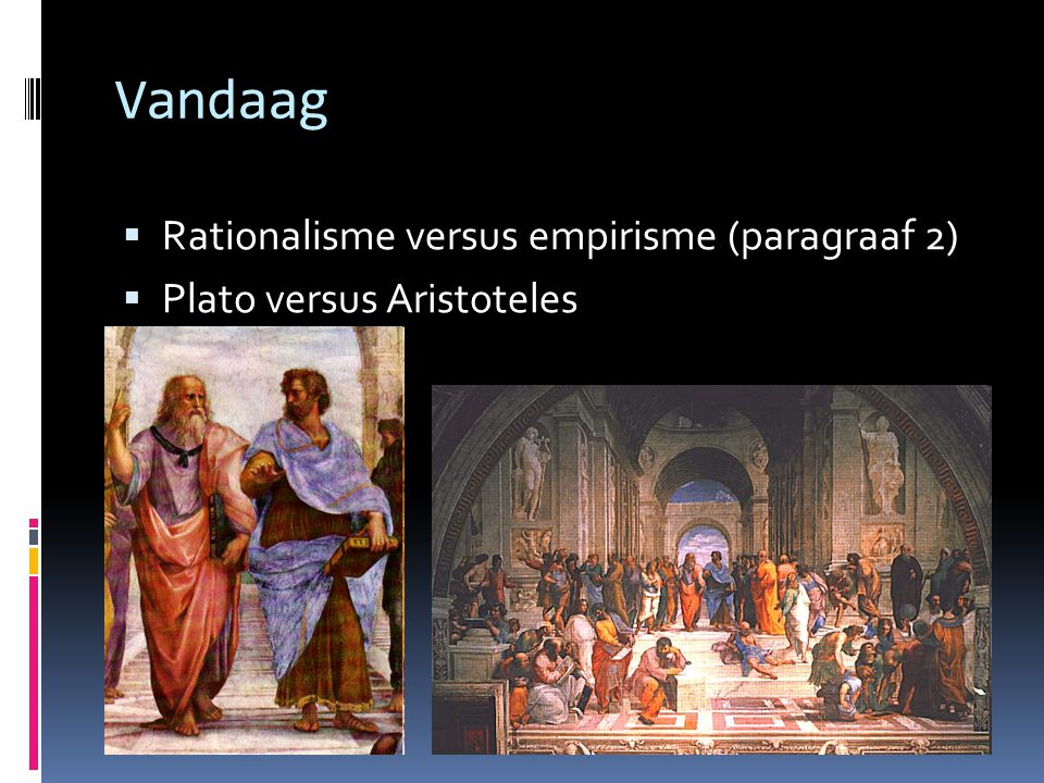 Vandaag Rationalisme versus empirisme (paragraaf 2)