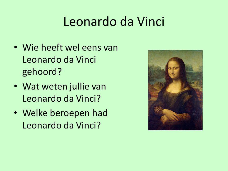 Leonardo da Vinci Wie heeft wel eens van Leonardo da Vinci gehoord