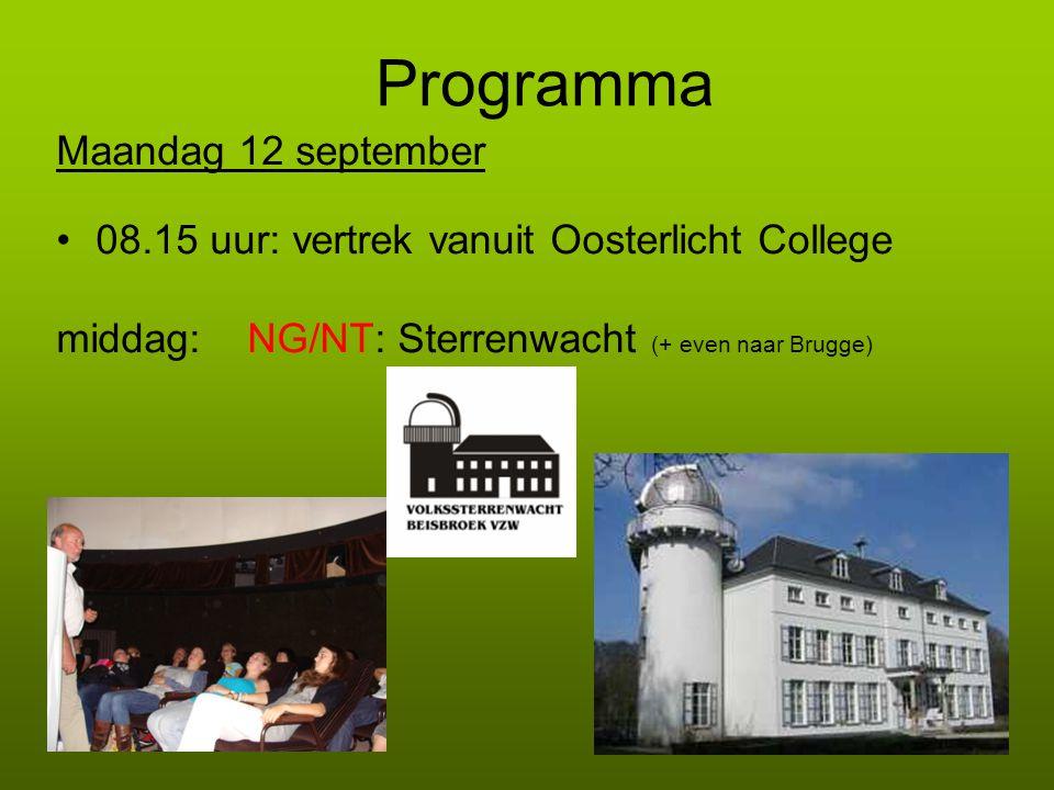 Programma Maandag 12 september