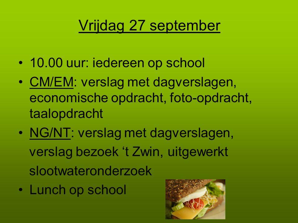 Vrijdag 27 september 10.00 uur: iedereen op school