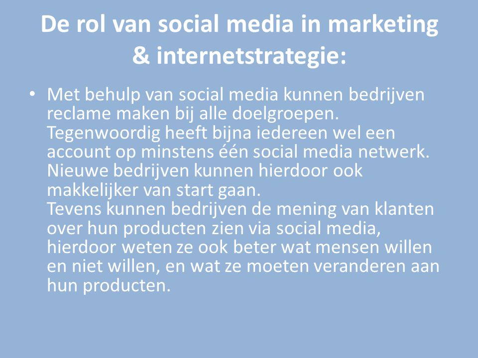De rol van social media in marketing & internetstrategie: