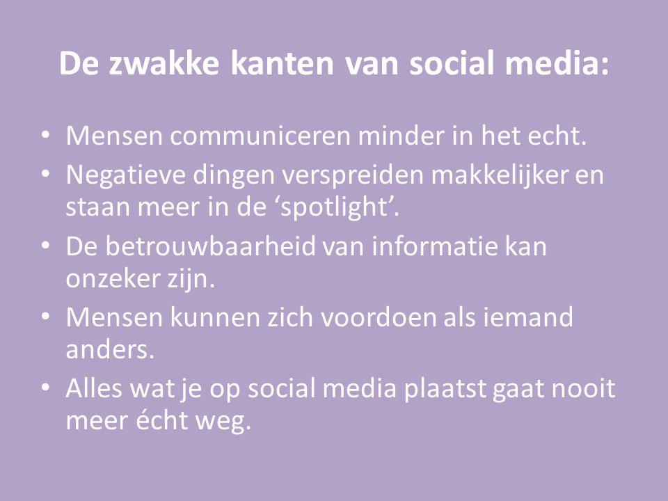 De zwakke kanten van social media: