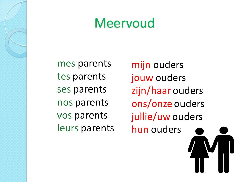 Meervoud mes parents tes parents ses parents nos parents vos parents leurs parents.