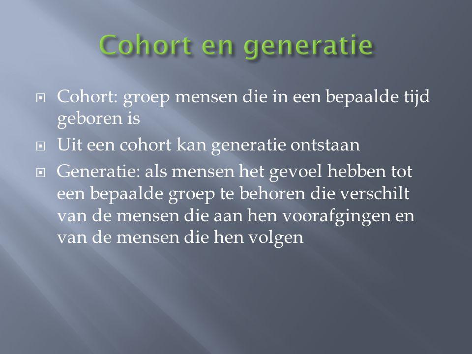 Cohort en generatie Cohort: groep mensen die in een bepaalde tijd geboren is. Uit een cohort kan generatie ontstaan.