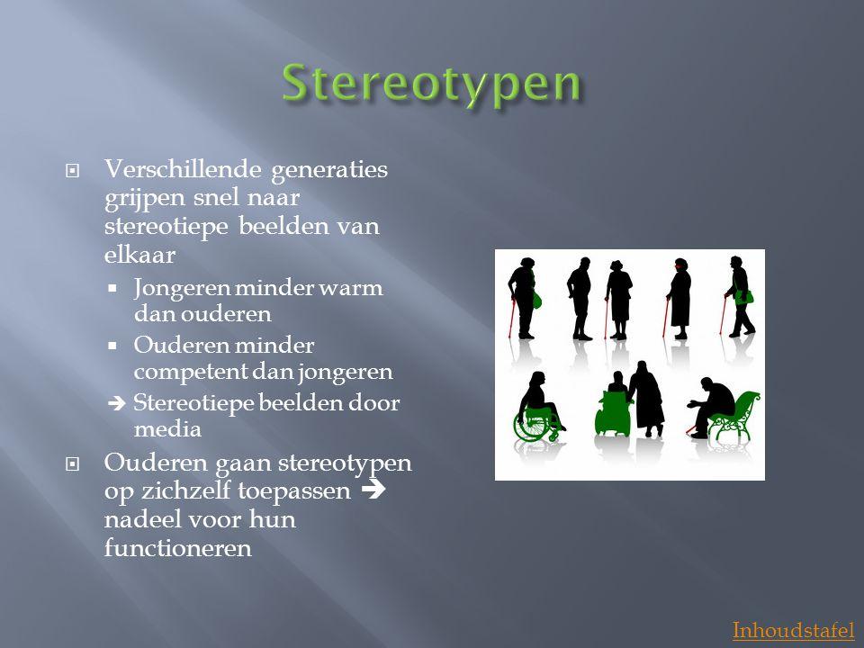 Stereotypen Verschillende generaties grijpen snel naar stereotiepe beelden van elkaar. Jongeren minder warm dan ouderen.