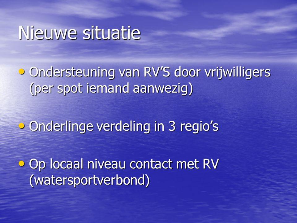 Nieuwe situatie Ondersteuning van RV'S door vrijwilligers (per spot iemand aanwezig) Onderlinge verdeling in 3 regio's.