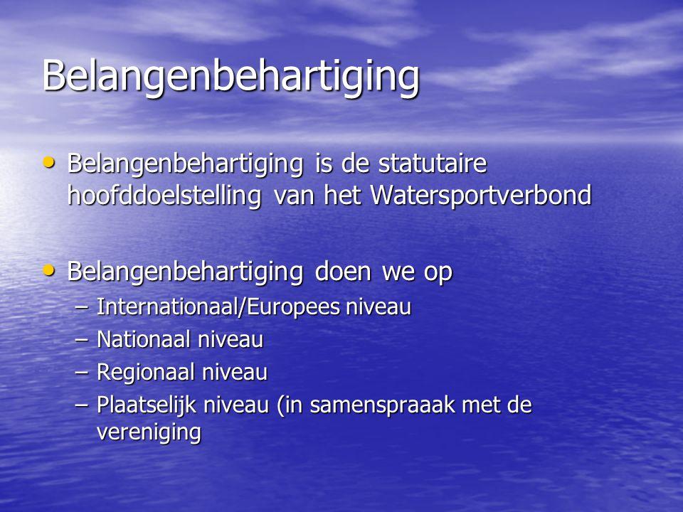 Belangenbehartiging Belangenbehartiging is de statutaire hoofddoelstelling van het Watersportverbond.