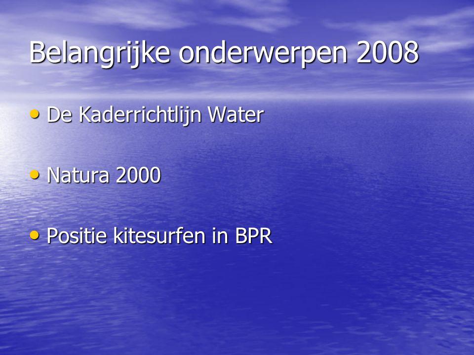 Belangrijke onderwerpen 2008