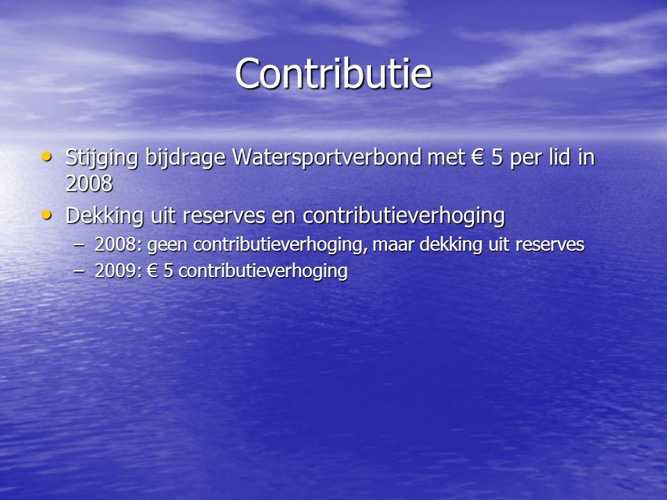 Contributie Stijging bijdrage Watersportverbond met € 5 per lid in 2008. Dekking uit reserves en contributieverhoging.