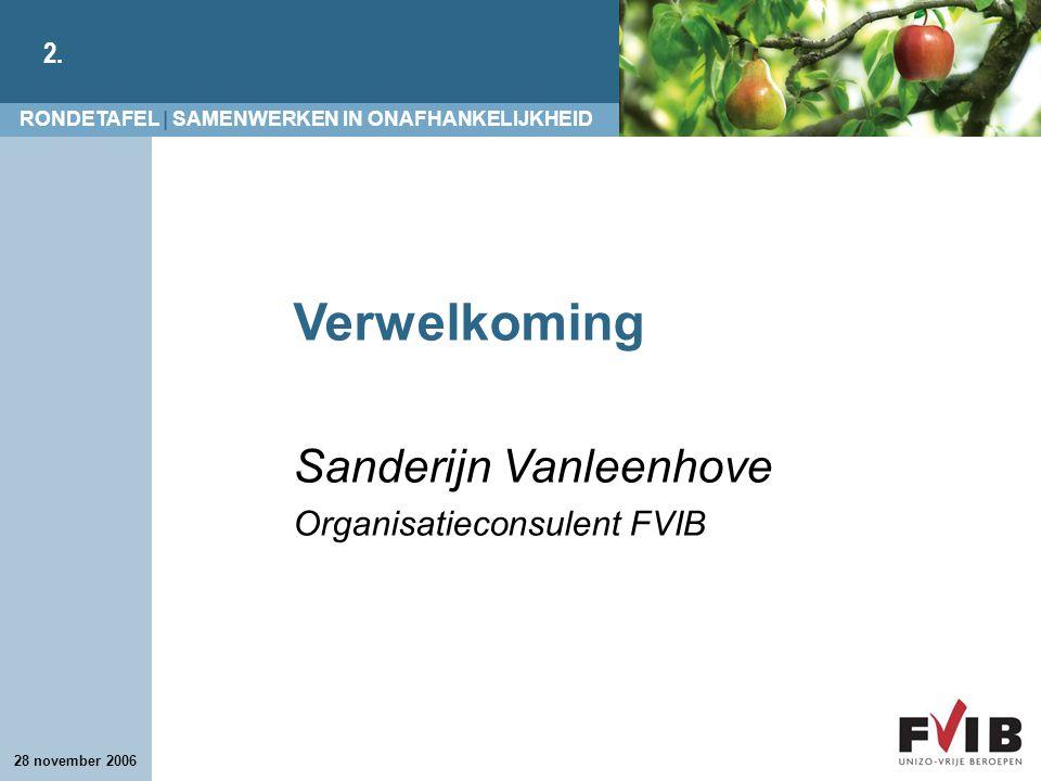 Verwelkoming Sanderijn Vanleenhove Organisatieconsulent FVIB