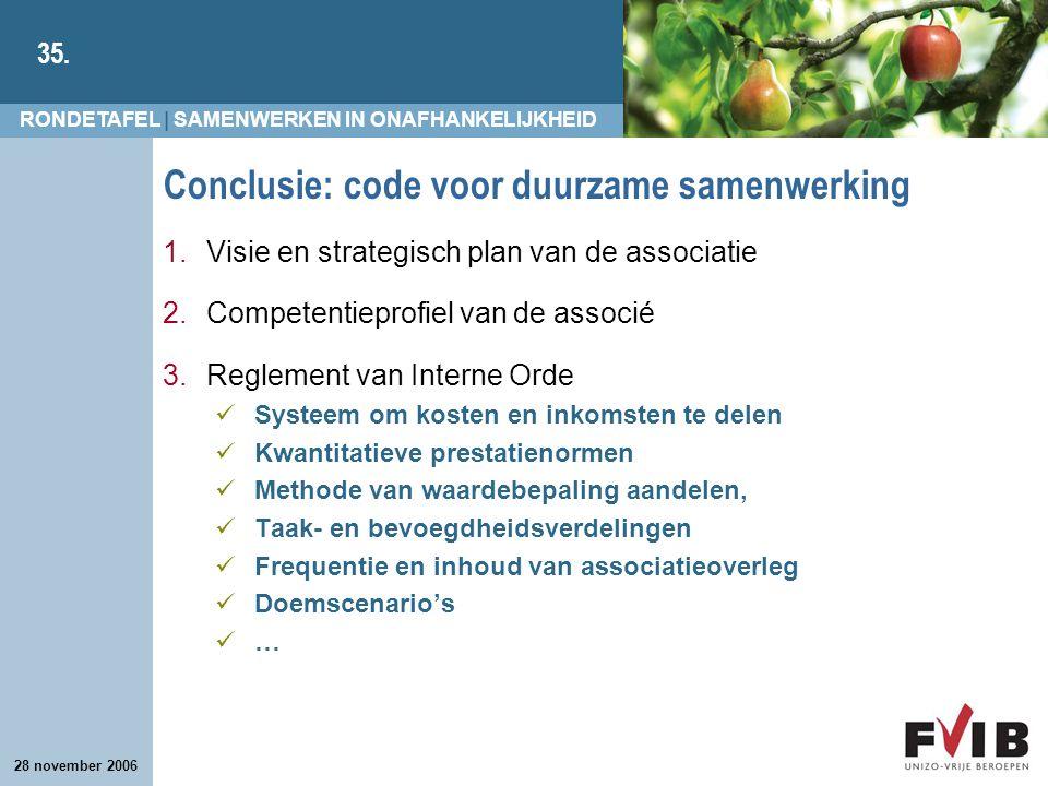 Conclusie: code voor duurzame samenwerking