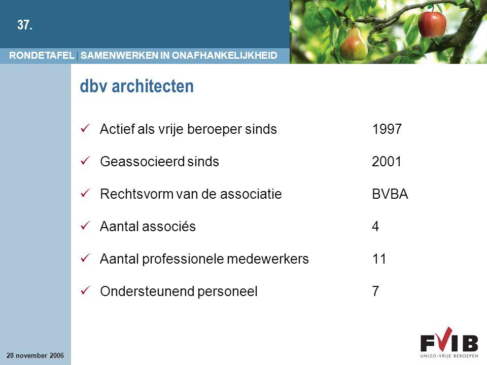 dbv architecten Actief als vrije beroeper sinds 1997