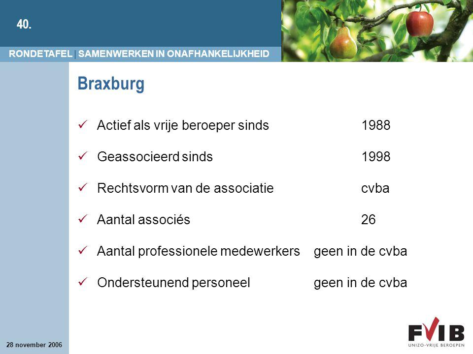Braxburg Actief als vrije beroeper sinds 1988 Geassocieerd sinds 1998
