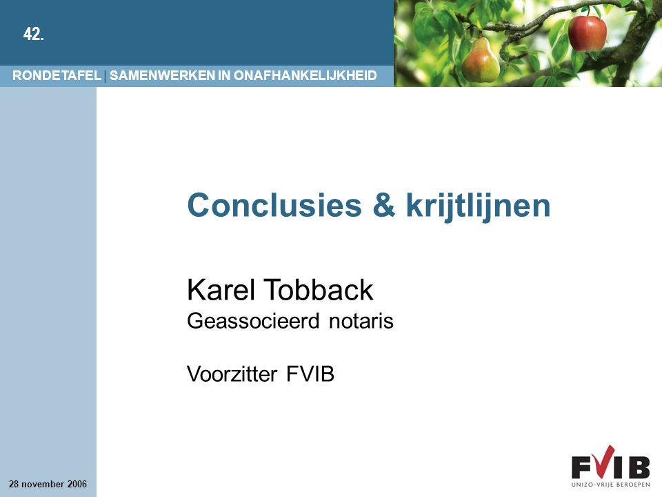 Conclusies & krijtlijnen