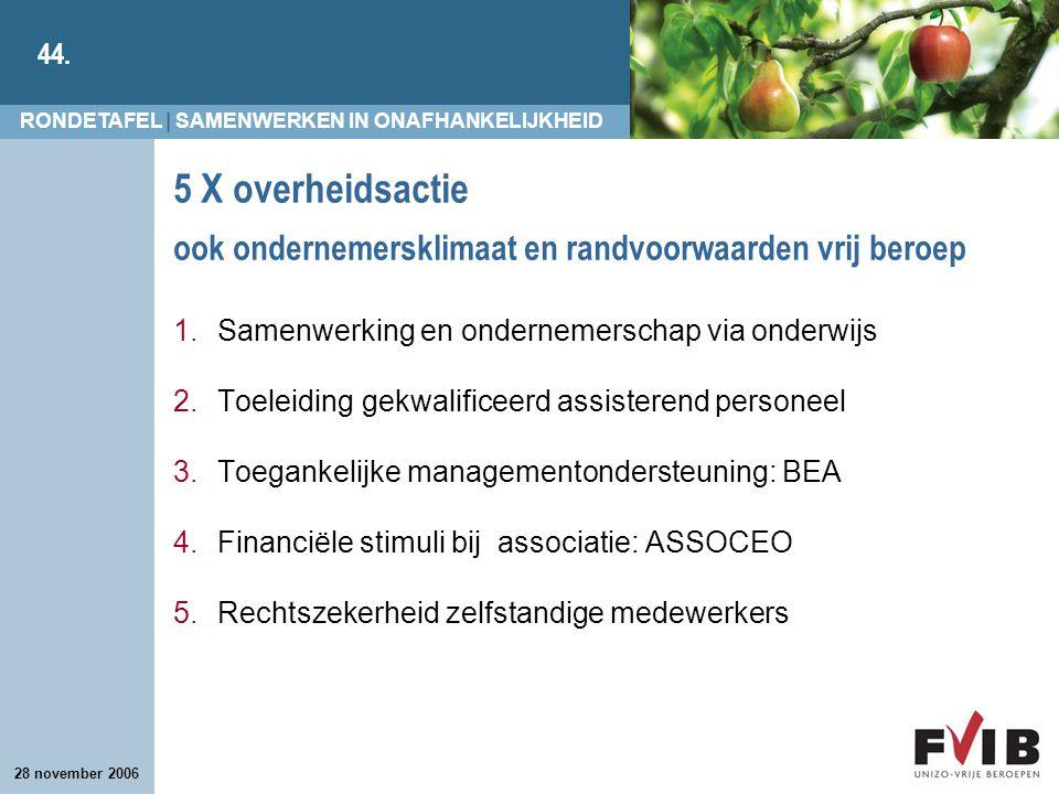 5 X overheidsactie ook ondernemersklimaat en randvoorwaarden vrij beroep